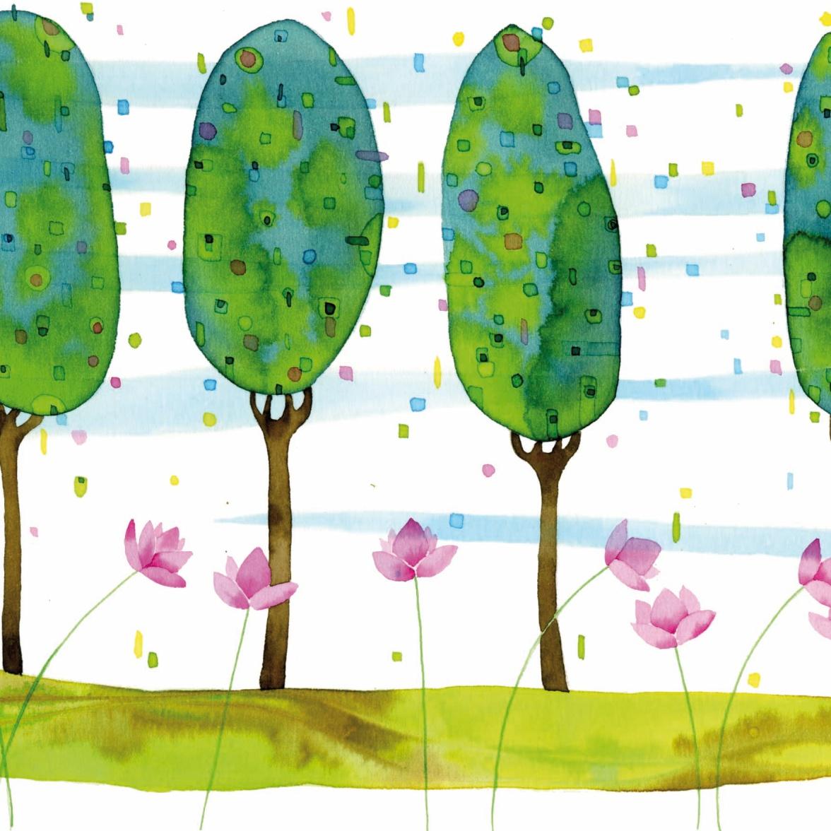 i pioppi e i fiori di loto