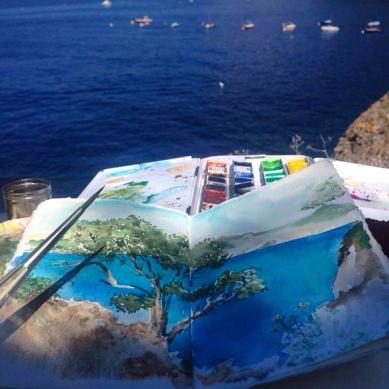 vista da Punta Chiappa dal versante che guarda Camogli